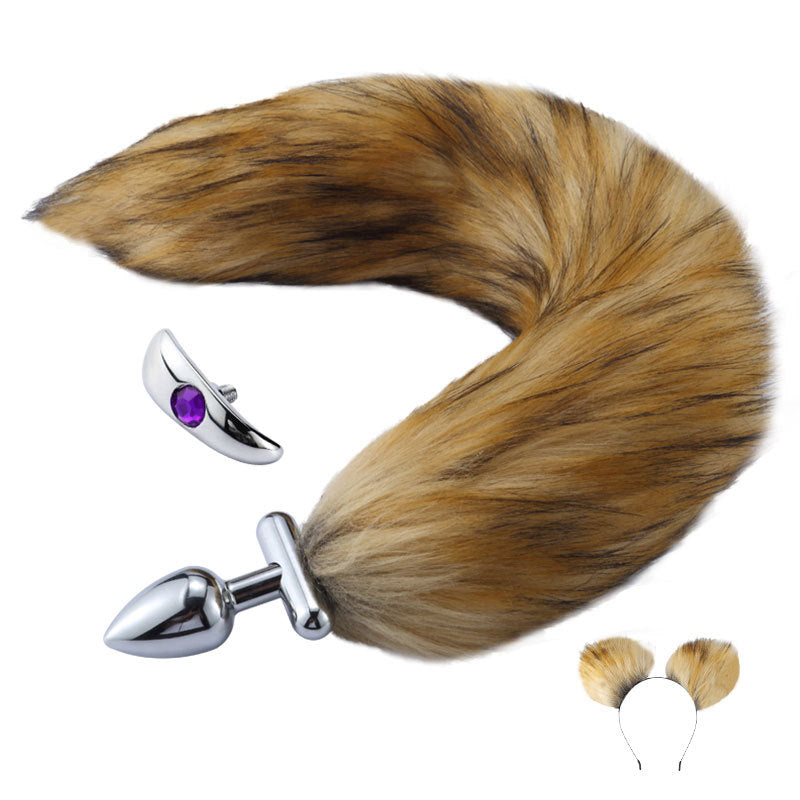 RY Deformable Cosplay Wild Fox Tail Butt Plug & Furry Ear Hair Band - Brown