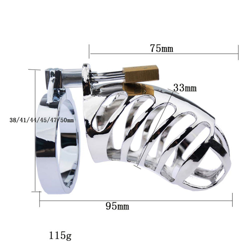 LHD Stainless Steel Male Chastity Cage Penis Cage / 4 Snap Ring Size