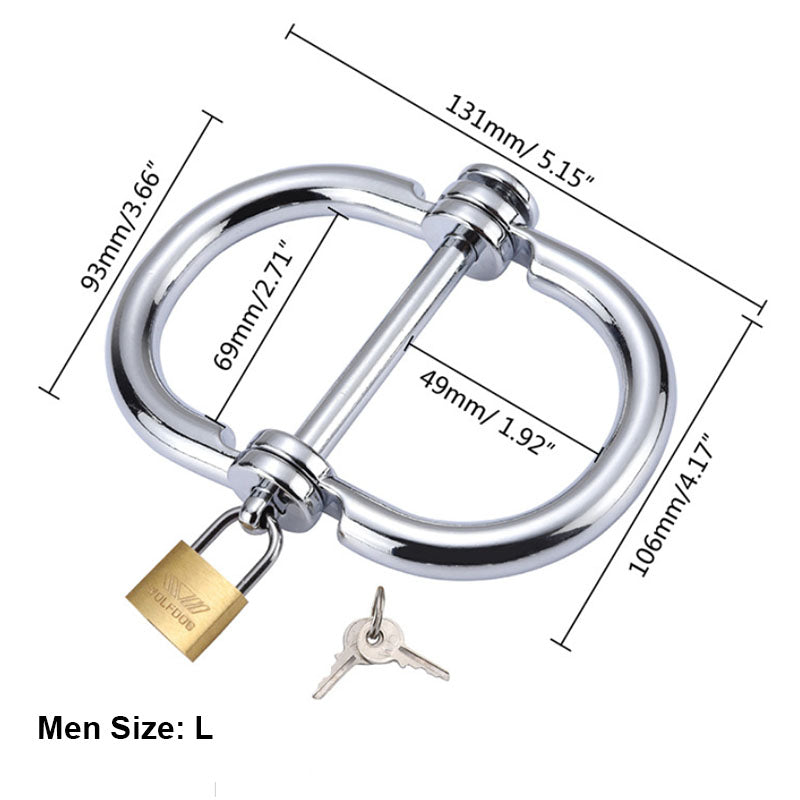 RY Stainless Steel Fetish Integrated Handcuffs - Male Edition