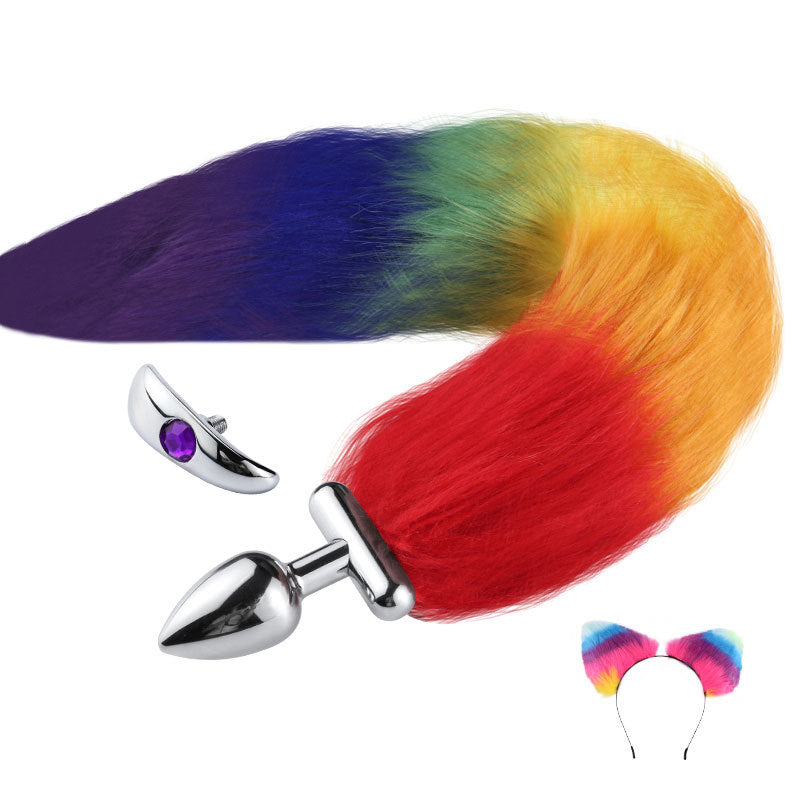 RY Deformable Cosplay Wild Fox Tail Butt Plug & Furry Ear Hair Band - Rainbow