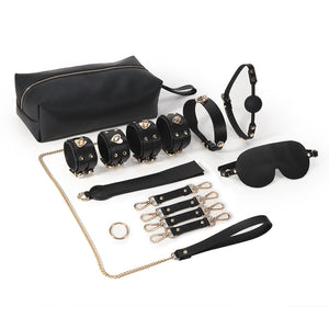 RY Premium Real Leather Bondage Set With Bag - 8 Pce BDSM Set Black