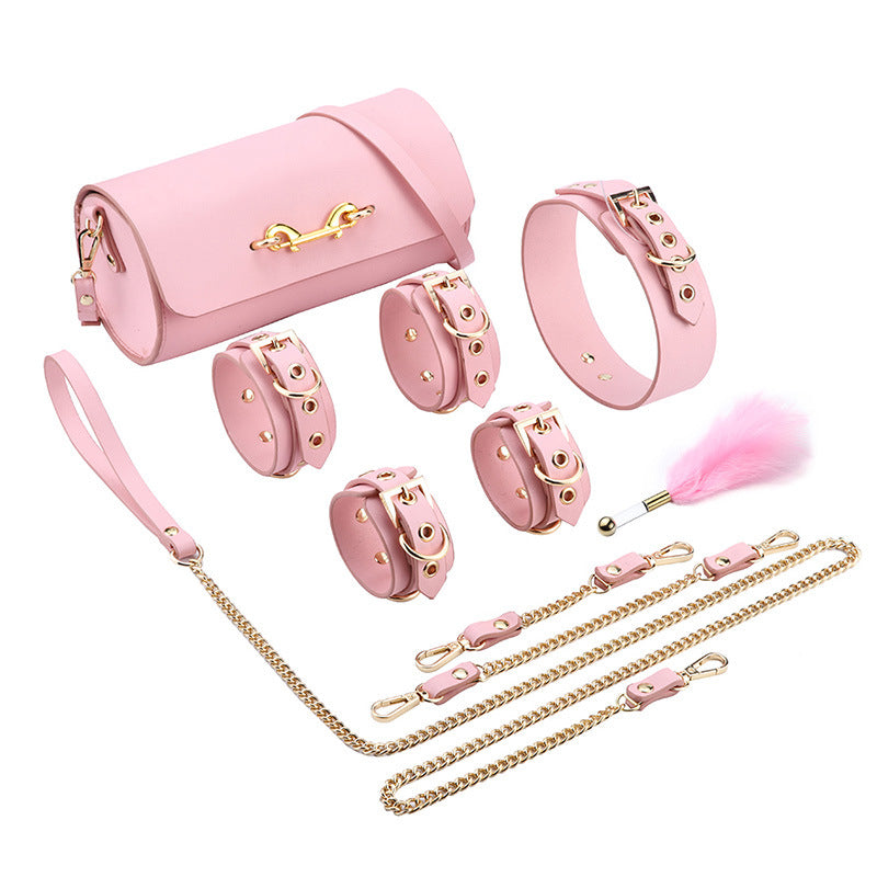 RY Premium Real Leather Bondage Set With Bag - 6 Pce BDSM Set Pink