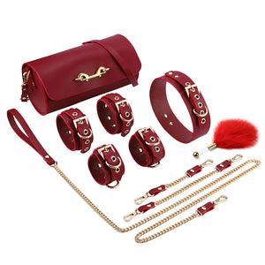 RY Premium Real Leather Bondage Set With Bag - 6 Pce BDSM Set Red