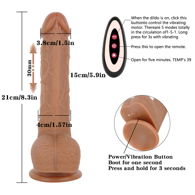 MD Tintin Remote Control Silicone Realistic Auto-Heating & Thrusting Vibrating Dildo 21cm