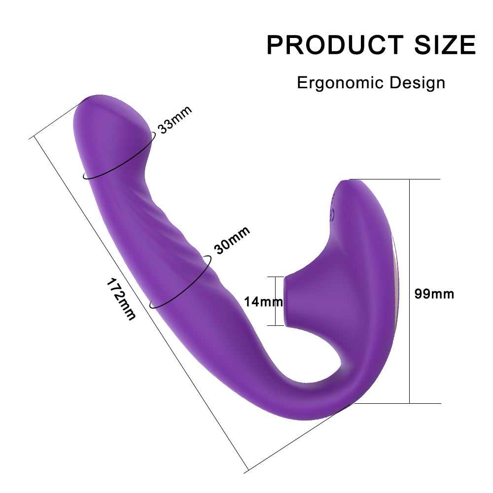 JRL 2 in 1 Bendable Suction Vibrator G-Spot Clitoral Stimulator Sucking Massager