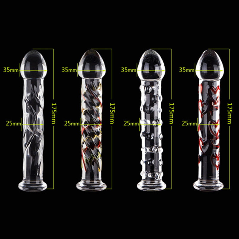 Brother Four 18cm Crystal Glass Butt Plug / Anal Beads / Thruster Dildo