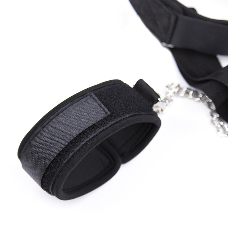 Soft Gag-to-Wrist and Ankle Cuffs Restraint / Bondage Set - Black