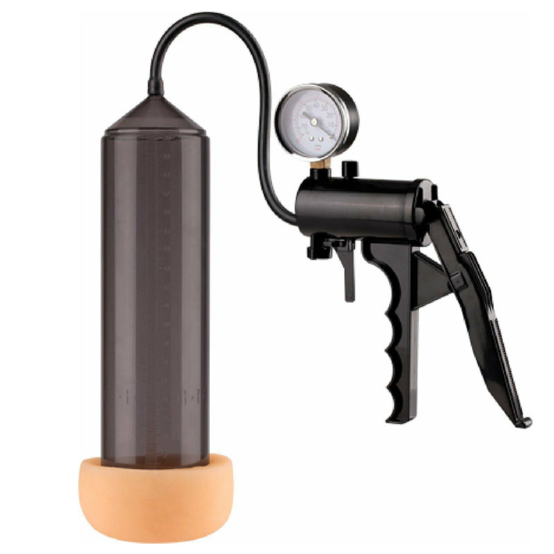 "Lust Pumper 8"" Pump W/ Gauge Mouth Penis Pump Cock Enlarger Extender Massager - Black"