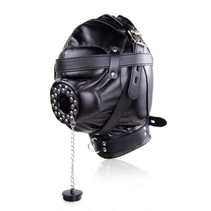 GN Bondage Gimp Hood Blindfold Mouth Cover Gag Ball Fetish Sensory Deprivation Mask