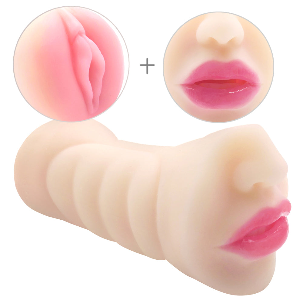 MD Realistic Pussy & Mouth Silicone Male Masturbator - Nose Edition