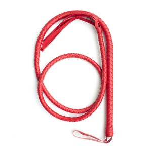 Long Faux Leather Extra Bondage Braided Whip - Red