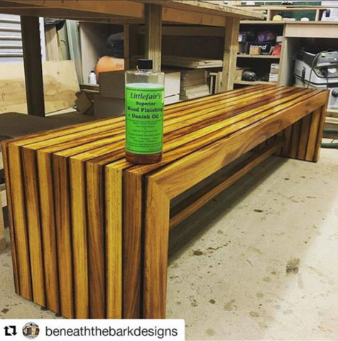 Littlefair's Superior Finishing Danish Oil on bench