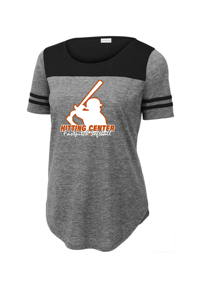 HITTING CENTER SOFTBALL LADIES WICKING FAN TEE (P.LST403)