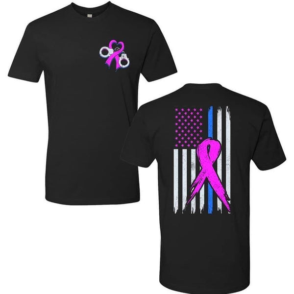 BACK THE BLUE IL PINK RIBBON TSHIRT UNISEX TSHIRT (6210)
