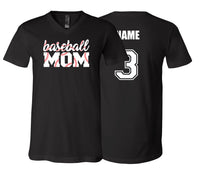 Baseball Mom Stitching Unisex V-NECK (Black)