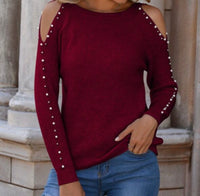 Burgundy Cold Shoulder Pearl Sleeve Rib-Knit Top (star200923830)