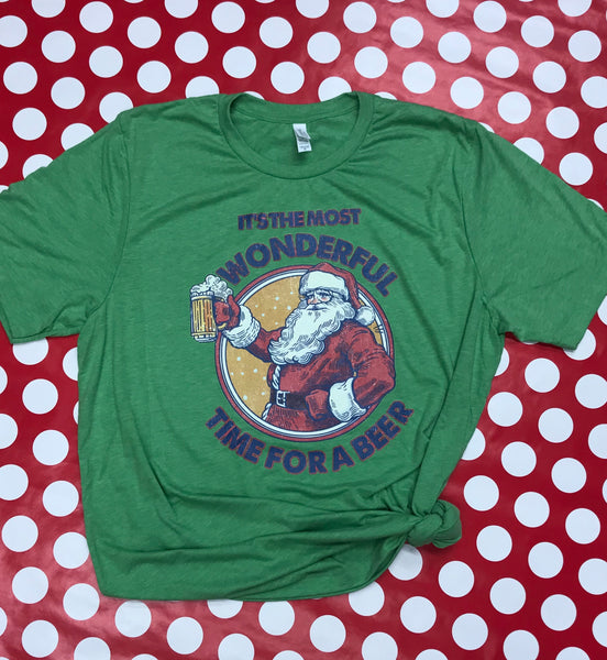 Wonderful Time For A Beer Bella T-Shirt (Green Triblend)
