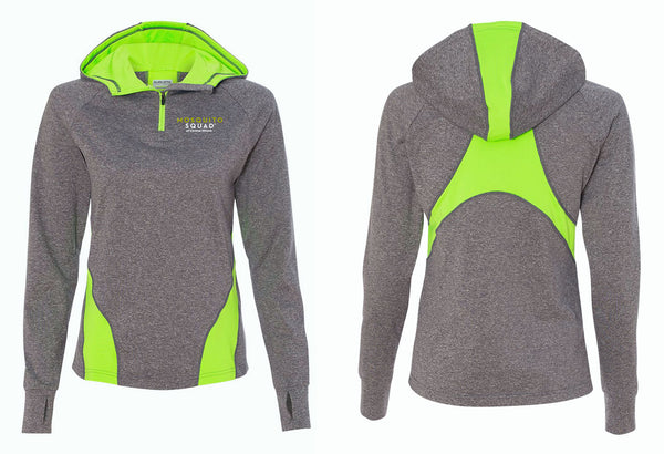 Mosquito Squad Ladies 1/4 Zip Hooded Pullover Sweatshirt