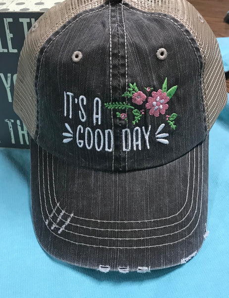 It's A Good Day Floral Trucker Cap