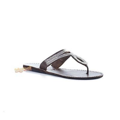 Laid Back London - Raven Flat Choc Silver Womens Sandals