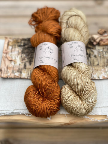 Two skeins of hand dyed yarn