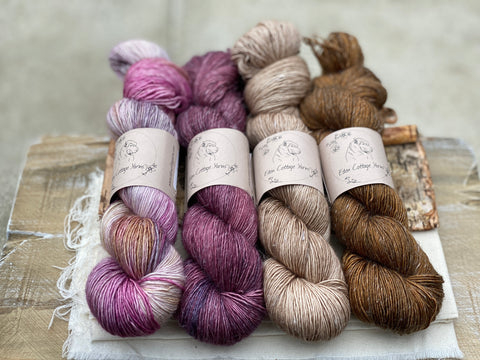 Four skeins of hand dyed yarn