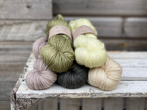 five skeins of hand dyed yarn