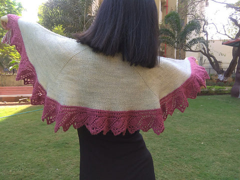 The Walk Together Shawl by Jayalakshmi published in Knotions magazine using Bowland DK in Silver Birch and Faded Bloom