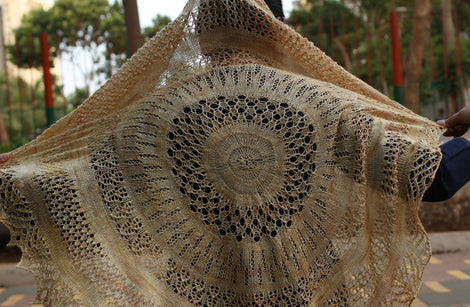 Sun and Shower by Jayalakshmi: knitted shawl add-on kit