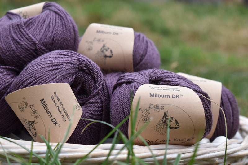 Milburn DK™ British Bluefaced Leicester/Silk in Black Tulip; 500g pack