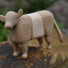 Hand carved Belted Galloway cow (dun)
