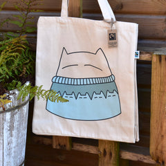 Cat Knits Canvas Tote Bag