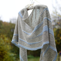 Masgot by Justyna Lorkowska: knitted shawl kit in blue/grey/cream