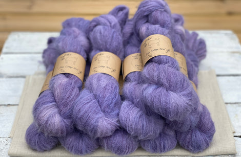 Purple fluffy yarn