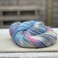 Variegated grey, blue, pink, cream and yellow fluffy yarn