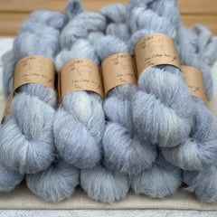 Pale blue fluffy yarn