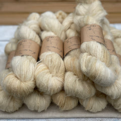 Beige fluffy yarn
