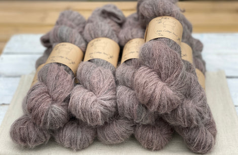 Variegated brown and grey fluffy yarn