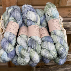 Variegated blue and green yarn