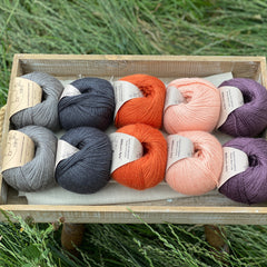 10 balls of yarn are sat in a wooden tray surrounded by grass. There are two balls of each colour. The colours from left to right are Steel, Charcoal, Crocosmia, Tea Rose and Black Tulip. The yarns create a palette of greys with orange, peach and dusky purple.