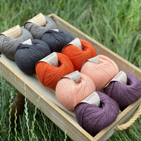 10 balls of yarn are sat in a wooden tray surrounded by grass. There are two balls of each colour. The colours from top left to bottom right are Steel, Charcoal, Crocosmia, Tea Rose and Black Tulip. The yarns create a palette of greys with orange, peach and dusky purple.