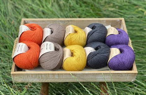 10 balls of yarn are sat in a wooden tray surrounded by grass. There are two balls of each colour. The colours from left to right are Crocosmia, Compost, Harvest Gold, Charcoal and Damson. The yarns create a palette of orange, brown, mustard yellow, dark grey and purple.