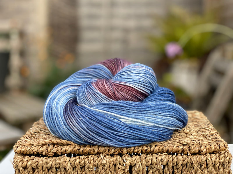 Variegated blue and purple yarn