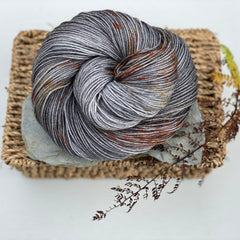 Grey yarn with splashes of brown