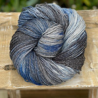 Variegated grey and blue yarn