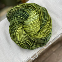 Variegated green yarn