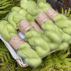 Fluffy green yarn