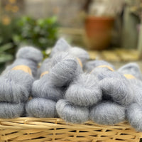 Fluffy blue yarn