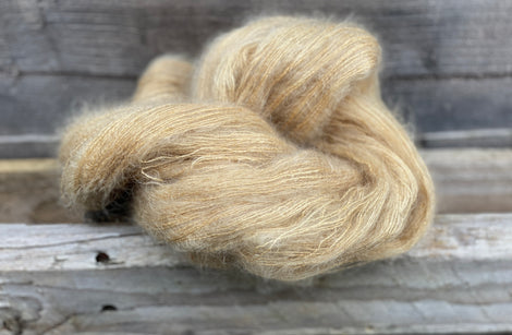 Fluffy light brown yarn