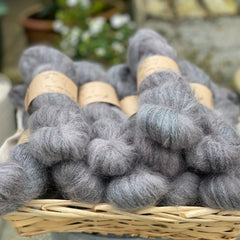 Dark grey fluffy yarn